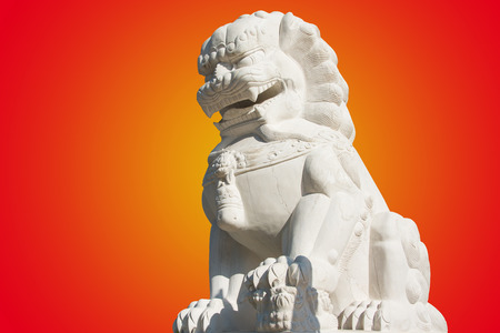 Stone lion statue in a Chinese temple photo