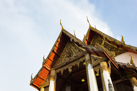 roof style of thai temple on blue sky background Editorial