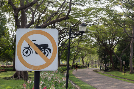 no driving Motorcycle Signs in the park