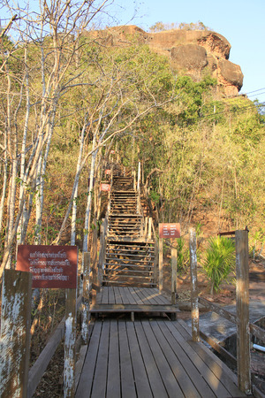 Unseen in thailand and amazing thailand, Phu tok mountain or Wat Jetiyakiree Viharn Temple with wooden trail round of the 7 floors mountain at Bueng Kan Province
