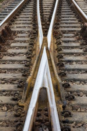 Close up railway tracks photo