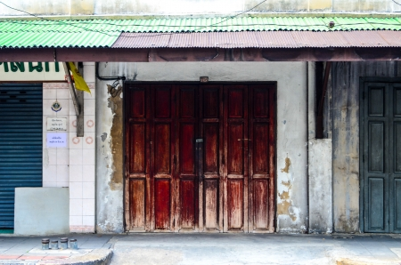 chiangmai: Old wooden door in local Thailand  Thailand style