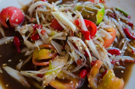slatternly: Thai papaya salad with Fermented Fish  Som Tum Slatternly   Stock Photo