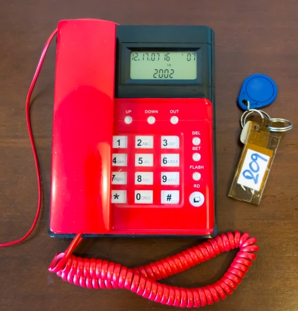 Red telephone and a key room photo