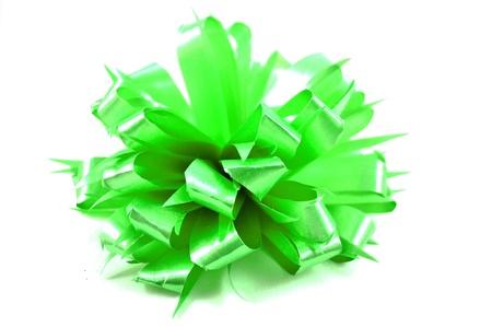 ribbin: Flower green ribbin bow on white background