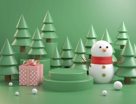 Christmas Mockup Podium Concept With Christmas tree Background 3d Render