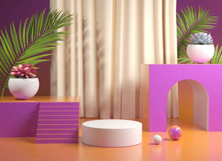 Podium Stage With Gradient Colorful With Plants 3d Render