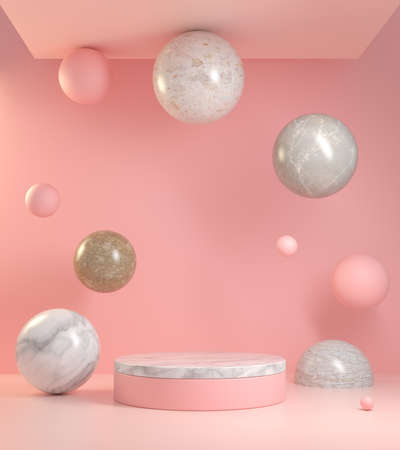 Abstract Pink Background Podium With Marble Floating To Ceiling 3d Render Stock fotó