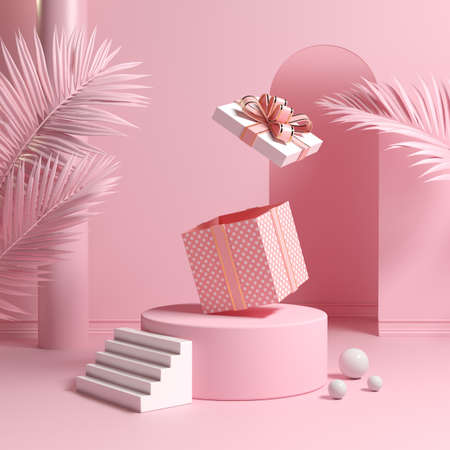 Minimal Concept Podium And Empty Pink Gift Box Bounce Open With Leaves Palm