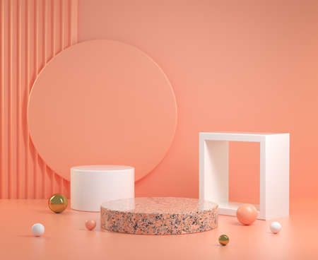 Minimal Abstract Geometric Podium With Orange Pastel Background 3d Render