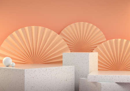 Mockup Podium Marble Stage Collection With Chinese Paperfan On Beige Pastel Abstract Background 3d Render