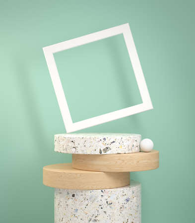 Mockup modern step cylinder display marble and wood oak with white frame on green Stock fotó
