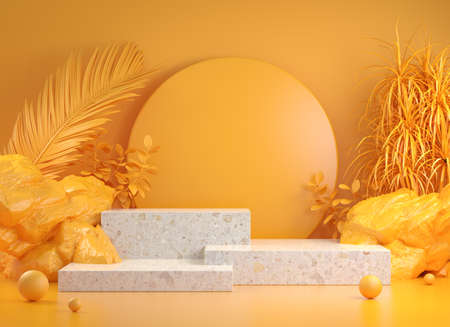 Mockup Step Podium With Yellow Tropic Forest Concept Abstract Background 3d Render Stock fotó