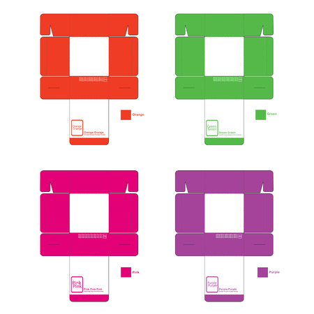 Pattern of colored square boxes, orange, green, pink and purple, with icon and text on white background Illustration