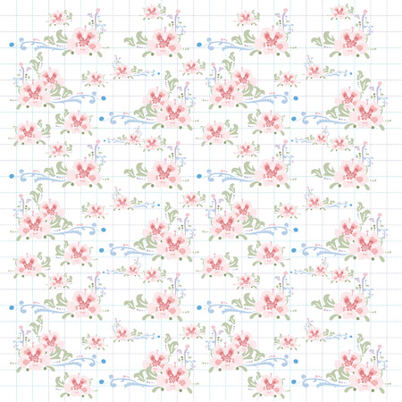 Pastel colors floral pattern on grid background