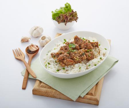 Gebakken varkensvlees met knoflook Stockfoto