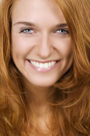 nose close up: Portrait of beautiful smiling woman Stock Photo