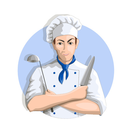 patron: Smiling chef with knife and ladle illustration on a white background.