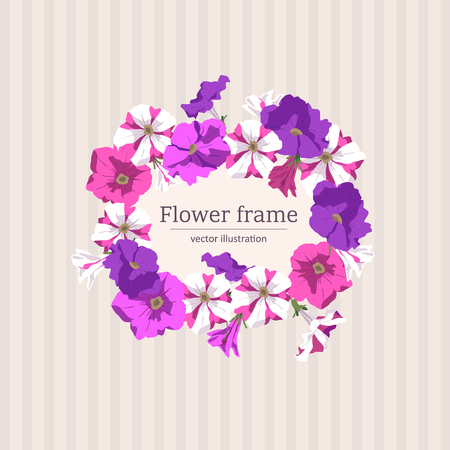 Floral frame of petunias illustration