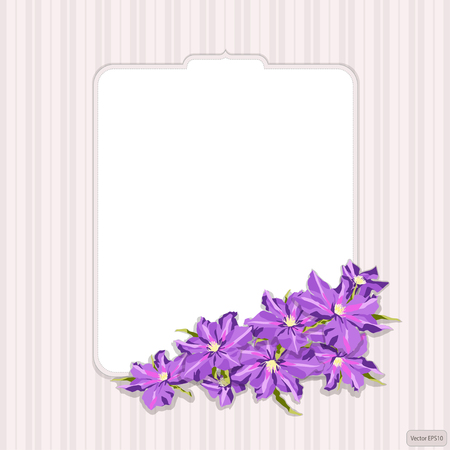 Romantic figured card in vintage style, with flowers clematis. Lilac flowers illustration