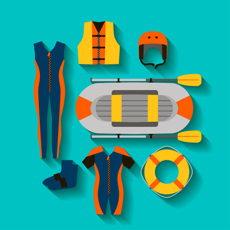 Conceptual icon set for rafting in flat style.