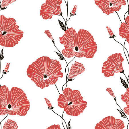 Two-color seamless floral pattern on white background. Black with red lava tera flowers and buds. Illustration