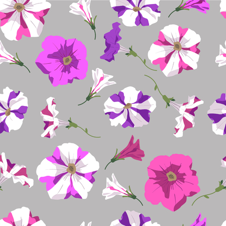 Background of pink, violet and two-colored petunia flowers and buds freehand drawing. Seamless pattern. Illustration