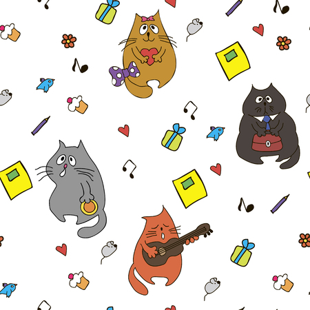 Funny cartoon cats, mice and items on pale gray background. Illustration