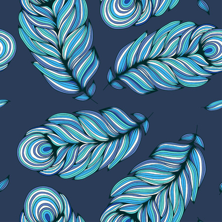 freehand drawing: Seamless pattern with stylized turquoise feather on deep blue background. Freehand drawing.