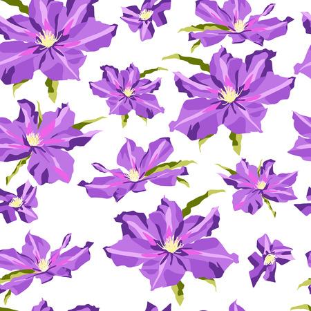白地にライラックのクレマチスの花。フリーハンドでの描画。シームレス パターン。