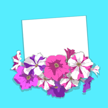 Card with lilac, striped, pink petunia flowers and buds with shadow on turquoise background