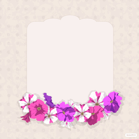 Vintage card romantic figurate card in vintage style, with a grunge background texture and frame of pink, purple, striped, purple petunia flowers