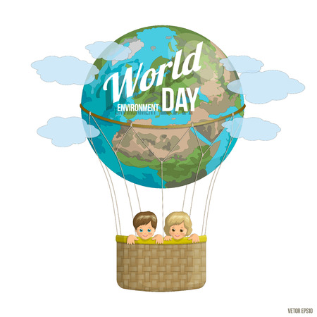 environmental issues: World Environment Day. Happy kids on the planet flying in a balloon. Colorful banner for advertising brochures on environmental issues. Illustration
