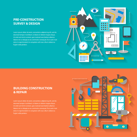 geodesy: Conceptual banners from a set of steps icons, objects and tools with a diagonal shadow. Preparation, construction and repair. Modern flat concept icon character set for booklets, brochures, web sites