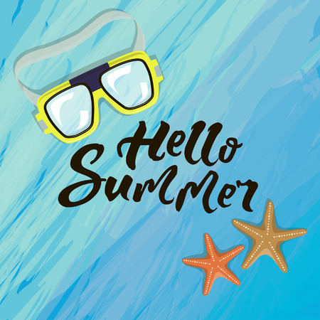 Its summer time typographic inscription with sunglasses, starfish illustration