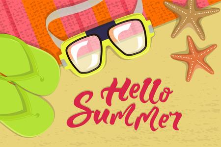 The summer bright composition of inscription, glasses, pair of flip-flops, starfish, mat illustration