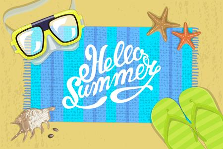 The summer bright composition of inscription, waterproof mask, pair of flip-flops, starfish, mat, shell. illustration Illustration