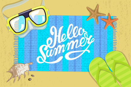 waterproof: The summer bright composition of inscription, waterproof mask, pair of flip-flops, starfish, mat, shell. illustration Illustration