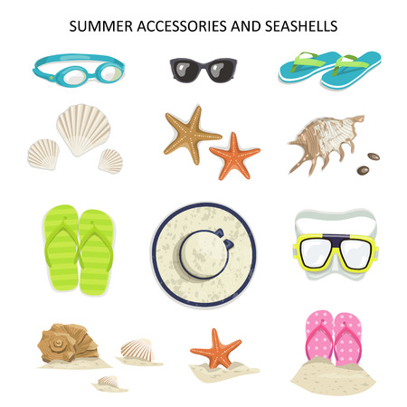 sports shell: Set Summer accessories and seashells on a white background. icons glasses, diving mask, flip-flops, shells, starfish, hat, sunglasses Illustration