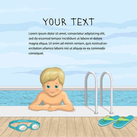 illustration of a happy boy in the outdoor pool. A smiling child on a background of sky and water with beach accessories, slippers and glasses for diving. There are text placement
