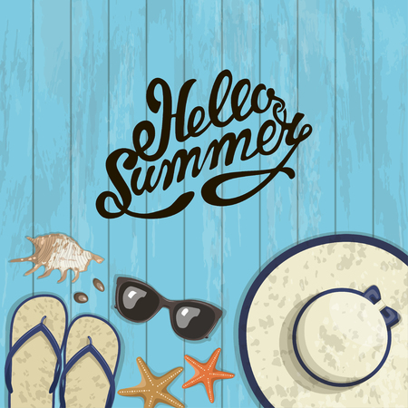 hi hat: summer composition of inscription, sunglasses, pair of flip-flops, starfish, shell and hat on a wooden background. illustration Illustration