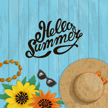 Summer bright banner with accessories and inscription, vector illustration. Composition sunglasses, hat, inscription colorful flowers, a necklace, on a wooden background, top view Ilustracja