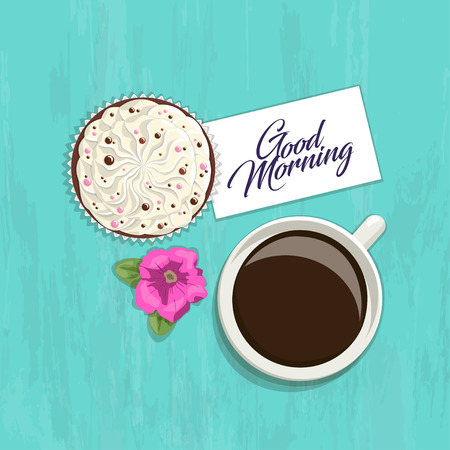 bright cake: Romantic greeting card with an inscription on bright background, top view. Cup of coffee with cream delicate cake, flower and a card with words Good morning on bright wooden texture, vector Illustration