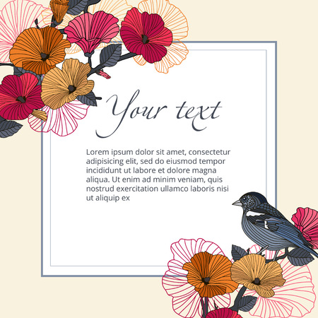 Vintage vector banner bird with flowers in the garden with space for text. Abstract red and orange flowers and bird on branch in the garden, and the text frame on beige background