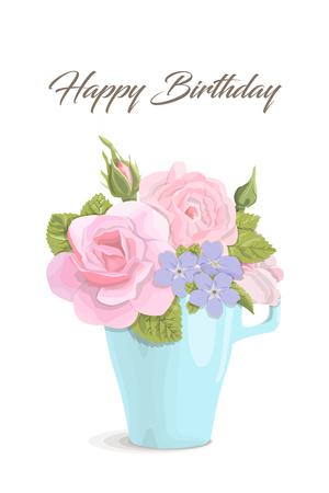 ハッピーバースデー カップ、ベクトル図でビンテージのロマンチックなカード花。繊細な香りのバラ、芽、葉、結婚式、招待状、お祝いのための白  イラスト・ベクター素材