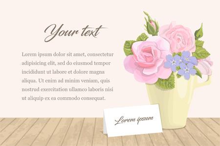 ビンテージのロマンチックなカード テキストとカップの花。バラのつぼみ、繊細なブーケの葉、黄色のコップ、お祝い、結婚式、招待状の碑文とカ