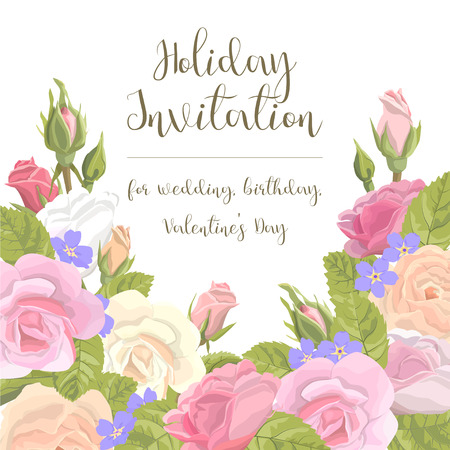 gently: Romantic vintage greeting card holiday invitation to a wedding, birthday, Valentines Day vector illustration. Delicate flower wreath of roses, buds, leaves, with an inscription on a white background Illustration
