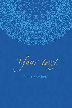 Motif de vecteur ethnique boho bleu, mandala sur fond bleu. Pour les invitations, salutations, cartes, bannières, brochures Vecteurs