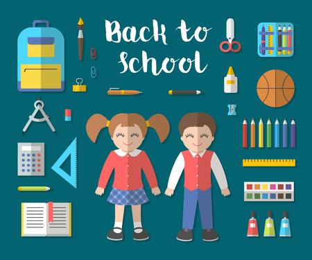 pen and marker: Back to school flat contour design modern vector illustration with education icon set. School isolated supplies: book, album, pencil, paint, pen, brush, ruler, scissors, etc.