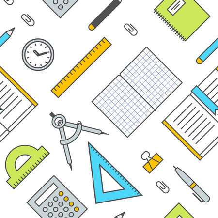 office supplies: Seamless School Office Supplies Pattern , illustration. Accessories for calculating, calculation, mathematics and others. Illustration